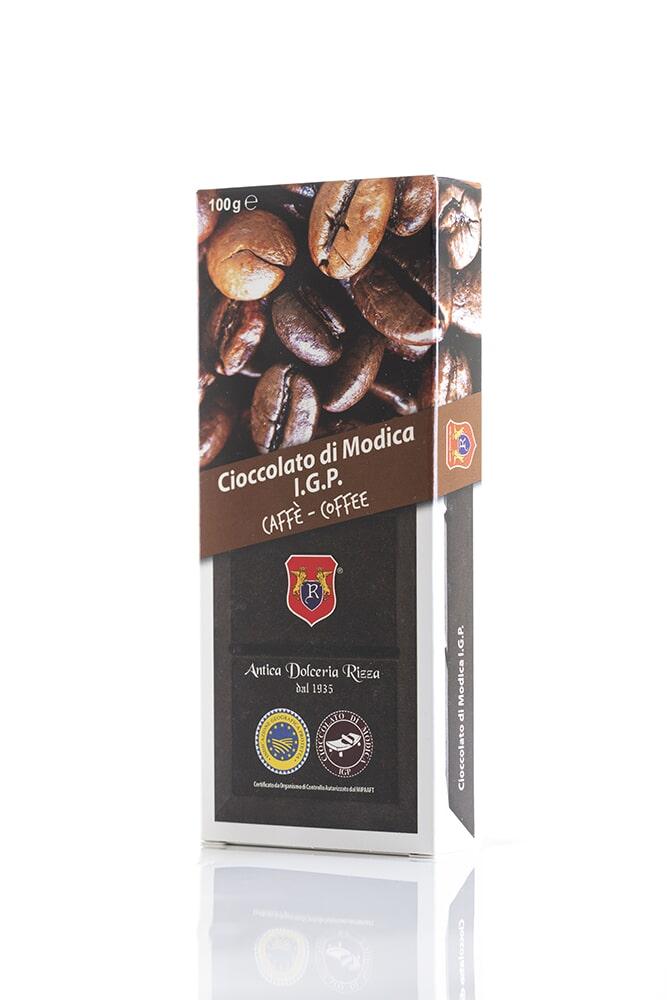 CIOCCOLATO AL CAFFÉ Cacao minimo 50% Ingredienti: Pasta di cacao, Zucchero, Caffè pregiato 0,4% Peso: 100g