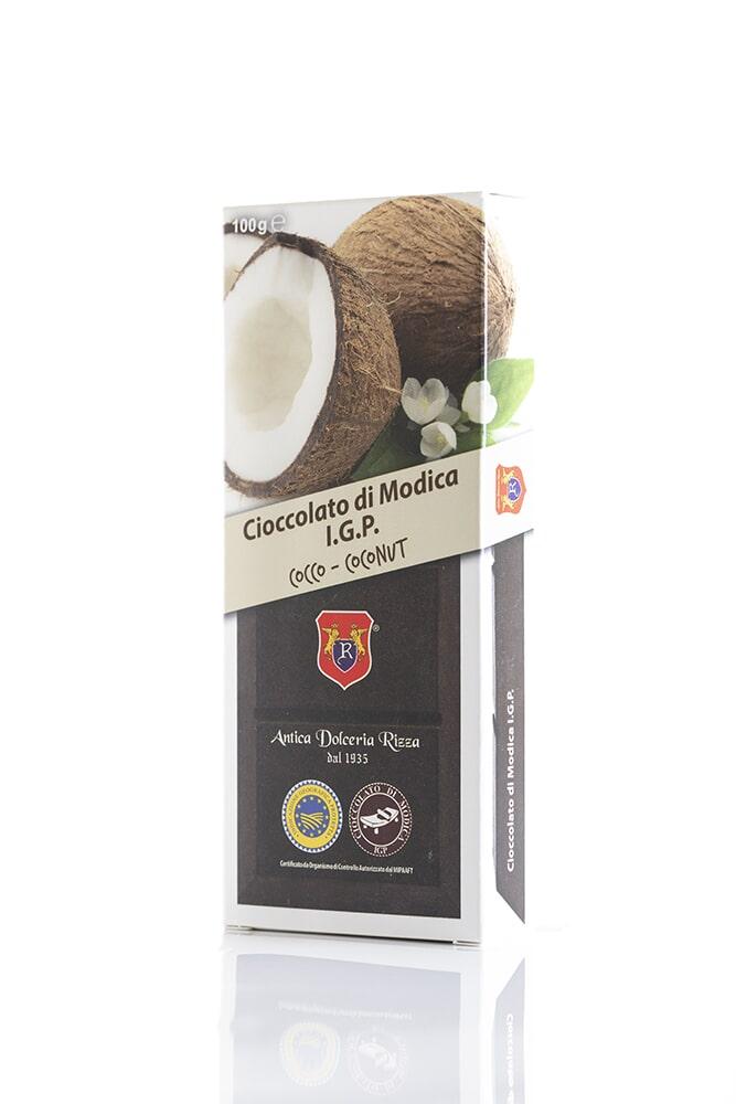 CIOCCOLATO AL COCCO Cacao minimo 50% Ingredienti: Pasta di cacao, Zucchero, Cocco 8%, aromi naturali Peso: 100g