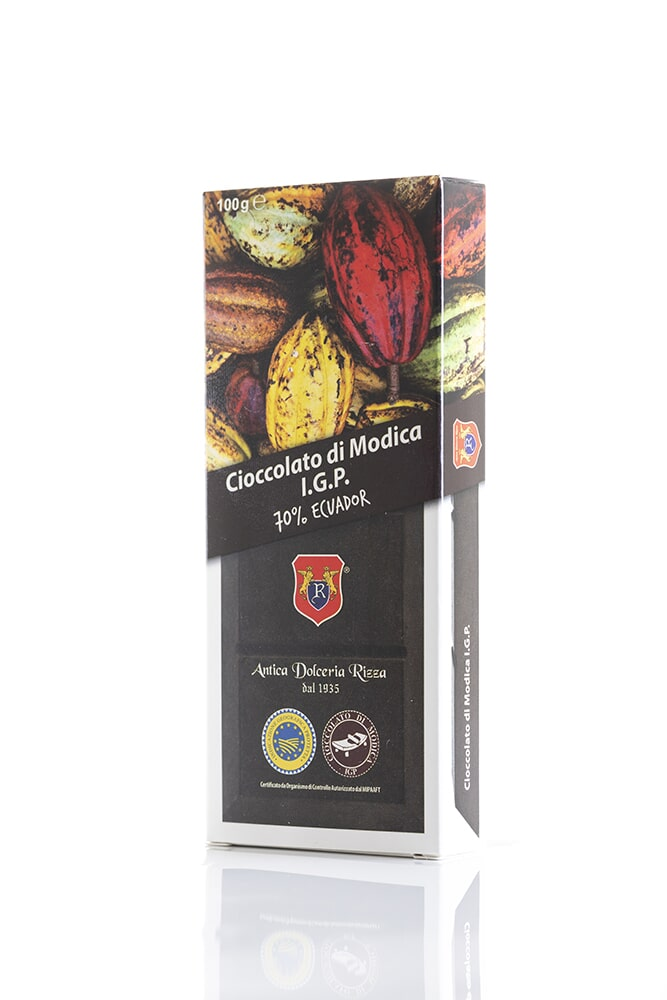 CIOCCOLATO 70% EQUADOR Cacao minimo 70% Ingredienti: Pasta di cacao, (mono-origine Equador), Zucchero Peso: 100g