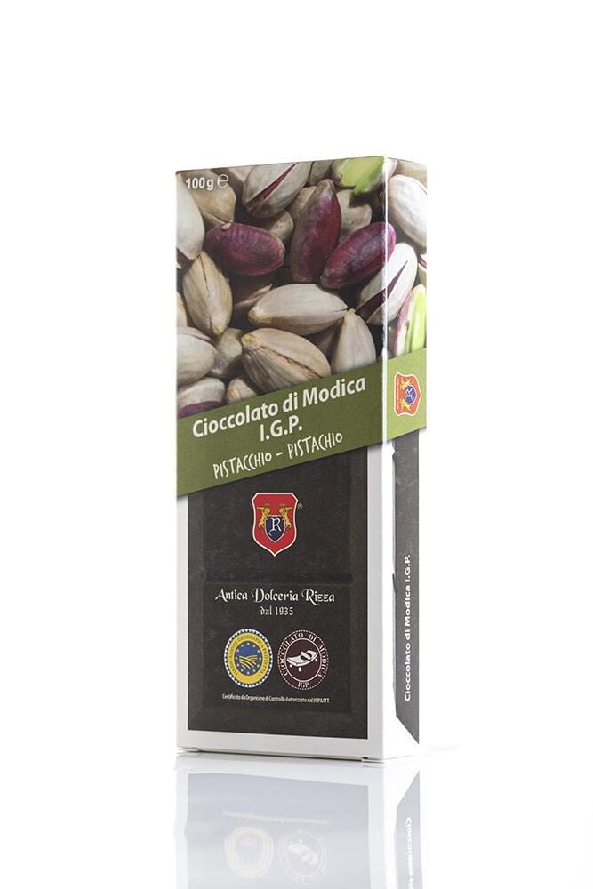 CIOCCOLATO AL PISTACCHIO Cacao minimo 50% Ingredienti: Pasta di cacao, Zucchero, Pistacchio di Sicilia 0,8% Peso: 100g