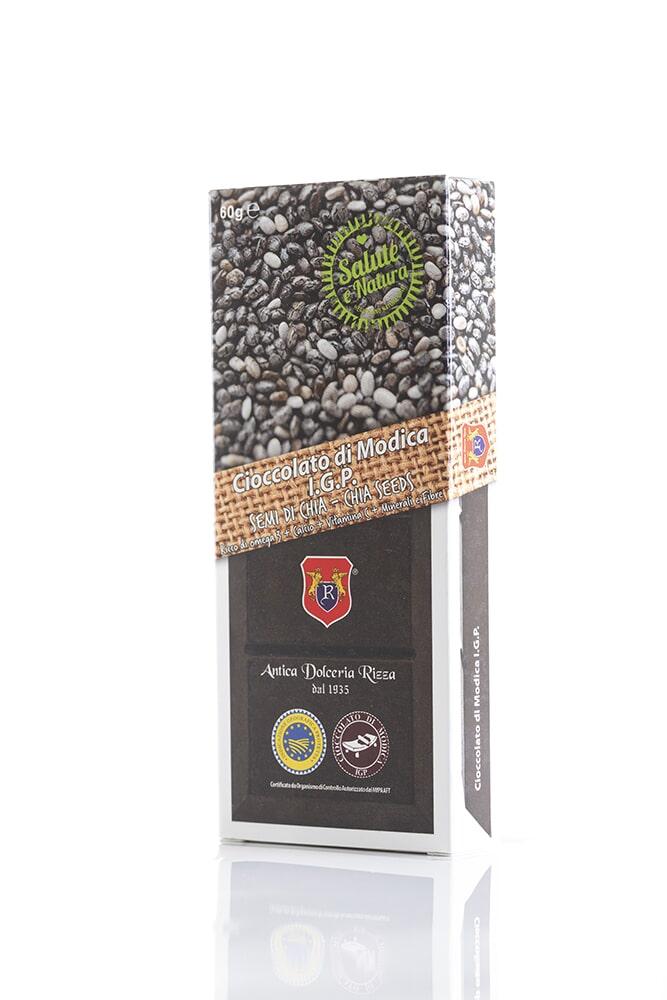 CIOCCOLATO AI SEMI DI CHIA Cacao minimo 60% Ingredienti: Pasta di cacao, Zucchero, semi di chia 17% Peso: 60g